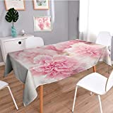 SCOCICI1588 Square Tablecloth Pink peony flowers Perfect for Spring, Summer, Indoor, Outdoor Picnics or Everyday Use