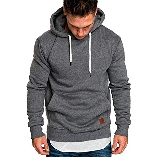 kaifongfu Hooded,Long-Sleeved Sweater Coat Mens Solid Color Tracksuits Blouse(Dark Gray,2XL) (Tracksuit Logo)