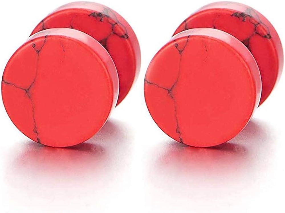 Ranking TOP5 YZstyle 2pcs A surprise price is realized 10MM Marble Stud Earrings Steel Cheater Men Women