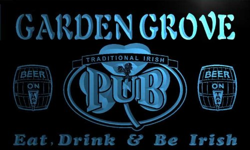 Pa2187 B Garden Grove Irish Shamrock Home Pub Bar Beer Neon Light Sign