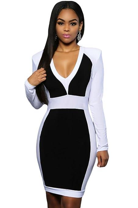 Para mujer colores blanco y negro bloque Bodycon Mini Club Wear e instrucciones para hacer vestidos