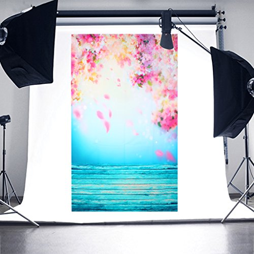 SCASTOE Peach Blossom Wedding Photography Backdrops Spring Flowers Wooden Floor Studio Photo Photography Background