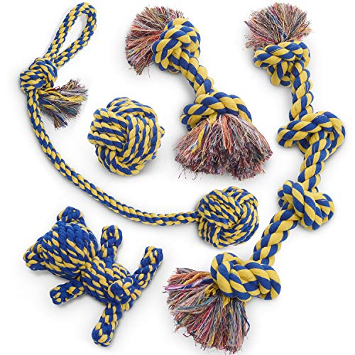 (Dog Rope Toy 5pc Set MAS, EXTRA THICK Durable Quality, 100% NATURAL COTTON, Medium, Large, Extra Large Dogs, Mental Stimulation, Puppy Behavioral Training Toy)