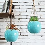 MyGift Set of 2 Aqua Blue Ceramic Hanging Mini Planters with Twine Ropes Review