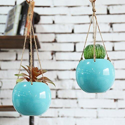 MyGift Set of 2 Aqua Blue Ceramic Hanging Mini Planters with Twine Ropes