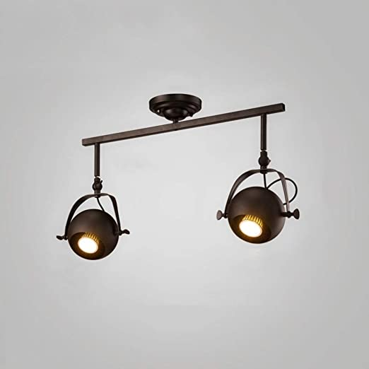 XGFJQZ Retro Vintage Lámpara de Techo Industrial 2 Llamas E27 ...