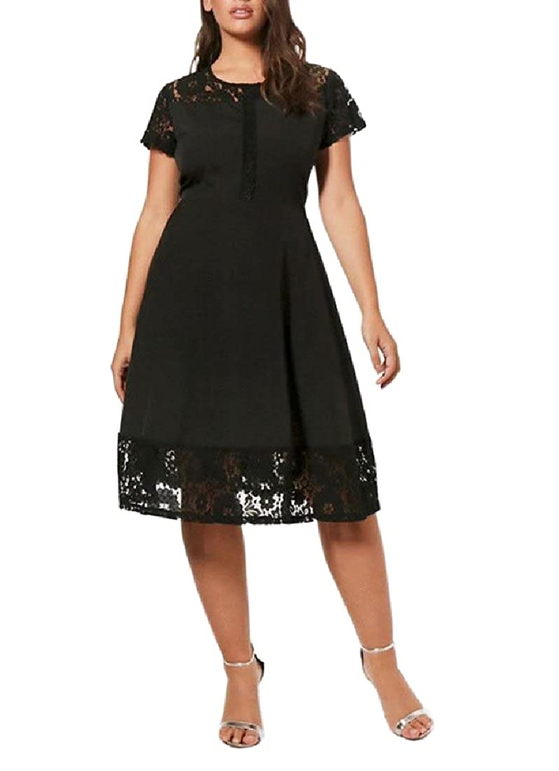 Fieer Womens Plus Size Lace Stiching Formal Vogue Knee ...
