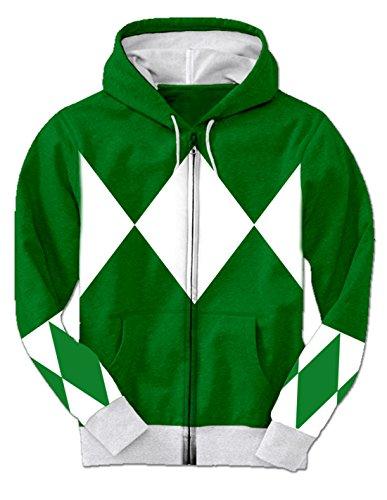 Costumes Green Power Adult Ranger (Green Power Rangers Hooded Costume Sweatshirt (Adult)