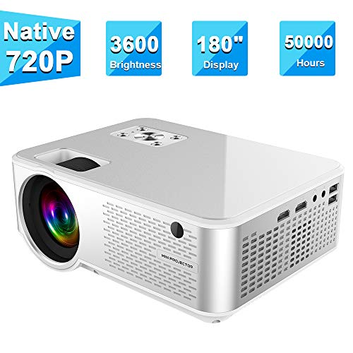Projector 3600 Lumens, ifmeyasi Mini Portable Video Projector Native 720P Full HD, LED Home Theater Projector, Support 1080P with 2HDMI, 2USB, AV, VAG for Smartphones PC Laptop Video Games