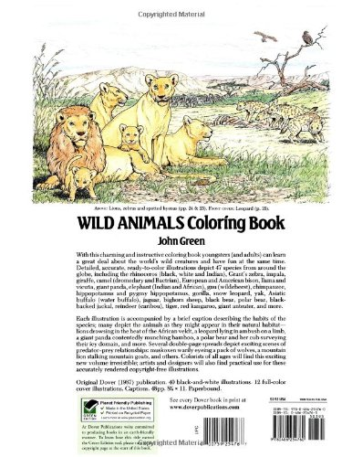 Wild animals coloring book dover nature coloring book john green 9780486254760 amazon com books