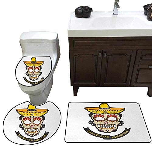 John Taylor Day of The Dead Bathroom Rug Set Colorful Skull with Sombrero and Moustache and Fire Eyes Art bathmat Toilet mat Set White Ivory and Yellow