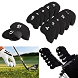 Golf Head Cover Club Iron Putter Head Protector Set Wedge Neoprene 10pcs Black