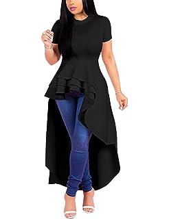 5fd005069d SEBOWEL Women Ruffle High Low Asymmetrical Bodycon Peplum Tops Blouse Shirt  Dress