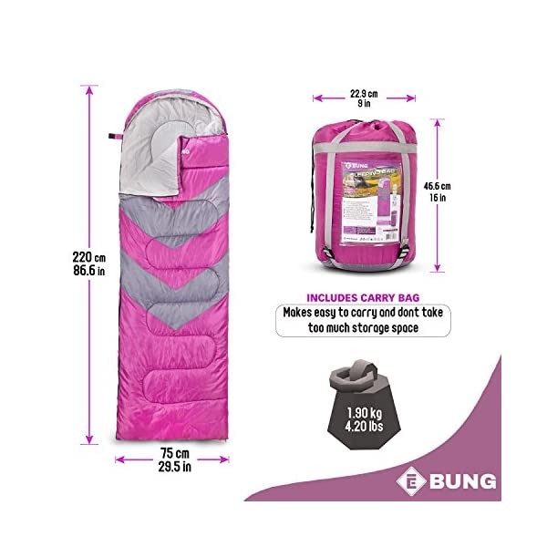 Ebung Sleeping Bag for Cold Weather - Envelope Portable Ideal for Winter, Summer, Spring, Fall - Outdoor Camping, Hiking, Traveling-Adults,Kids,Boys,Girls-Lightweight Waterproof Washable 5