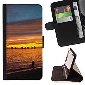 DEVIL CASE - FOR Samsung Galaxy S6 EDGE - Sunset Sea Beautiful Nature 13 - Style PU Leather Case Wallet Flip Stand Flap Closure Cover
