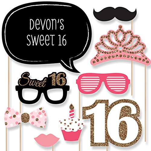 Custom Sweet 16 Birthday Photo Booth Props - Personalized 16th Birthday Party Supplies - 20 Selfie Props