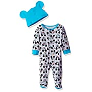 Disney Baby Boys' Mickey Mouse Footie Sleeper and Bib OR Hat Set, Lightheather Grey, 6-9 Months