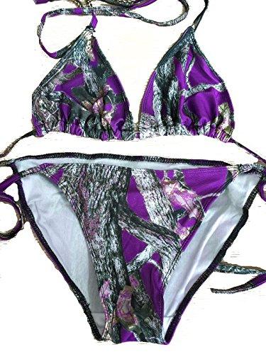 Southern Designs Camouflage String Bikini Top & Bottom Set (M Top & S Bottom, Purple) ()