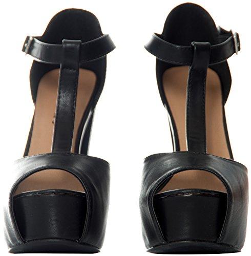 Breckelles Women's Peep Toe High Heel T-Strap Platform Sandals Black 8.5
