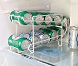 FixtureDisplays Stylish Soda Can Beverage Dispenser Rack, Dispenses 10 Standard Size 12oz Soda Cans and Holds Canned Foods 16938-NPF