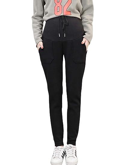 ff017fee1 Zhhmeiruian Cintura Alta Pantalon de Maternidad - Casual Respirable Apoyo  Pantalones de Embarazo para Mujeres Drawstring