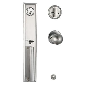 Exterior Door Handleset,Double Door Entry Handleset With Dummy And Deadbolt  In Satin Nickel Finish