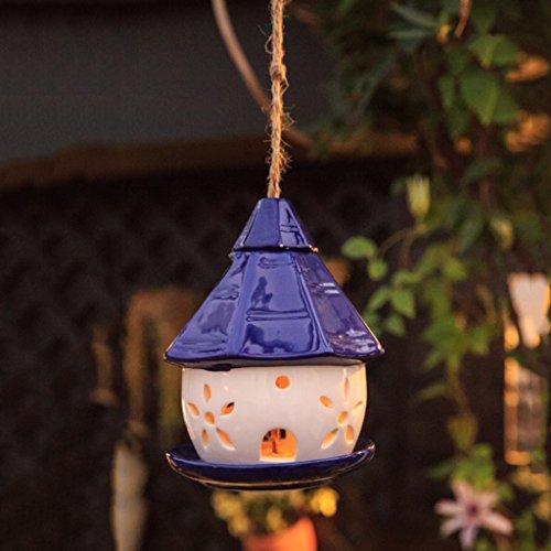 Cacoffay Hanging Bird Feeder Outdoor Solar Light Hollow Ceramic Blue Cottage Garden Christmas (Bird Ceramic Perch)