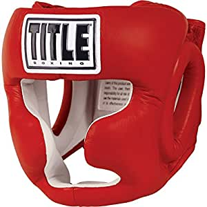 TITLE Boxing Full Face Training Headgear, Red, Regular