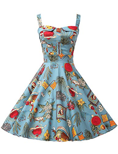 Swing Knot Dress (Swing Puffy Floral Bow-Knot Cute Vintage Teen Dresses for Girl Size XL)
