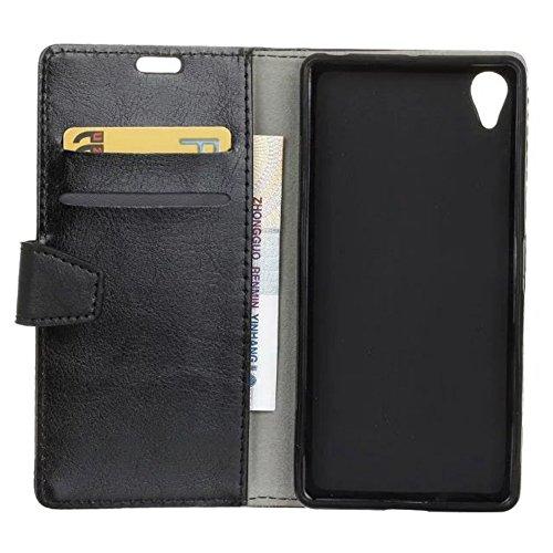 Cristal de grano de cuero de la cartera de teléfono de la caja de la bolsa Retro Flip Stand Cover con tarjeta de efectivo tragamonedas y función de pie para Sony Xperia L1 ( Color : Purple ) Black