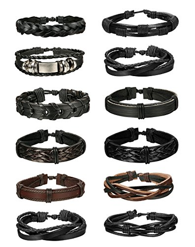 Leather Cuff Style Band - Jstyle 12Pcs Braided Leather Bracelet for Men Women Cuff Wrap Bracelet Wristbands Adjustable