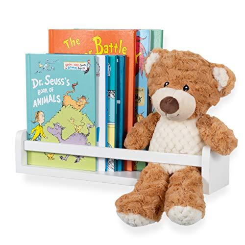 Baby Nursery Room Décor Wall Shelf Book Organizer Storage Ledge Floating Bookshelf Display Holder for Books Toys CDs - Ships Assembled (White) (Wii U Won T Display On Tv)