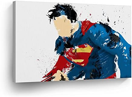 Superman Figure Splash Watercolor Style Digital Painting Canvas Print Wall Art Super Hero Home Decor Decoration Stretched and Ready to Hang