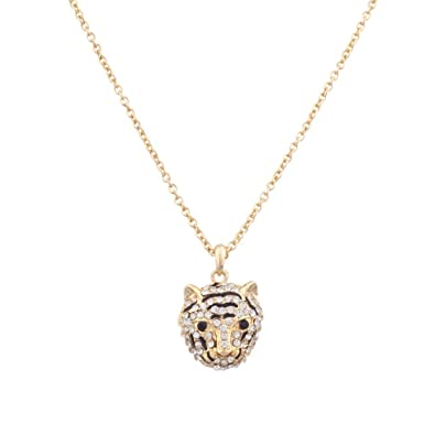 d40be606fc1e Amazon.com  Lux Accessories Pave Panther Tiger Cat Animal Pendant ...