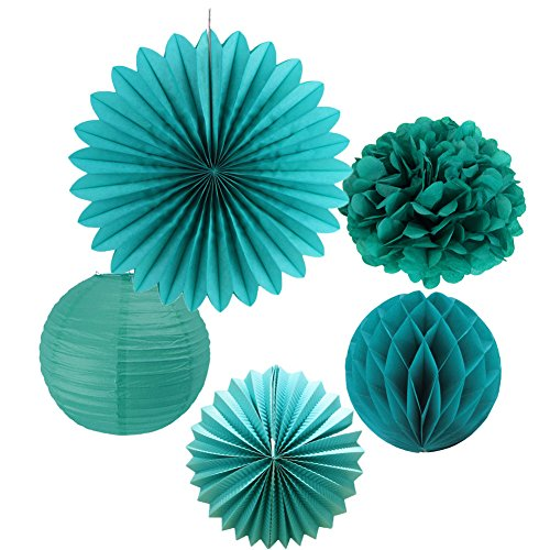 SUNBEAUTY Tissue Paper Pom Poms Paper Fans Honeycomb Balls Kit Wedding Birthday Baby Shower Valentine Decoration 5 Pieces (Teal Blue)]()