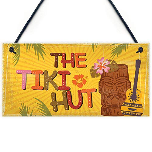 Personalised Printed Tiki Hut Hanging Home Bar Pub Kitchen Alcohol Cocktails Welcome Friend Bathroom Garden Plaque Hanging Shed Chic Antique Wood Sign Home Decor 9.8 X 4.9 Inches Wall Art Decoration