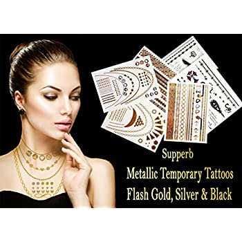 Metallic Temporary Tattoos Gold & Silver Temporary Metallic Tattoos, over 200+ Designs High Gloss Shimmer Effect Bling Temporary Tattoos (6-pack)