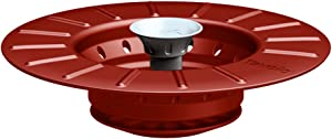 Tovolo Stopper & Strainer, Strainer & Drain Collapsible Silicone Kitchen Sink Drain Stopper, Catches Food Particles & Debris, 1 EA, Candy Apple Red