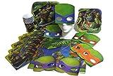 Teenage Mutant Ninja Turtles Michelangelo Raphael Donatello Leonardo Birthday Party Supplies Bundle for 8 Guests Lunch Plates, Dessert Plates, Cups, Napkins, Masks and Plastic Table Cover.