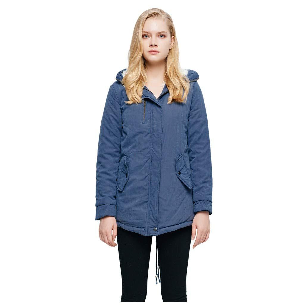 IEason Womens Casual Long Sleeve Warm Hooded Coat Slim Winter Fleece Outwear Jacket Blue by IEason Women Coat
