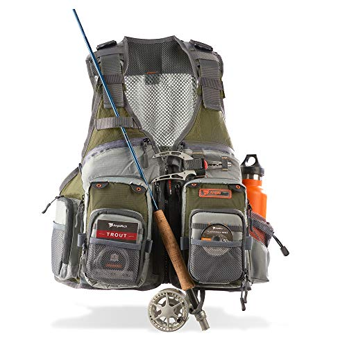 Anglatech Fly Fishing Vest Pack for Trout Fishing Gear and Equipment, Adjustable Size for Men and Women (Best Fly Fishing Vest)