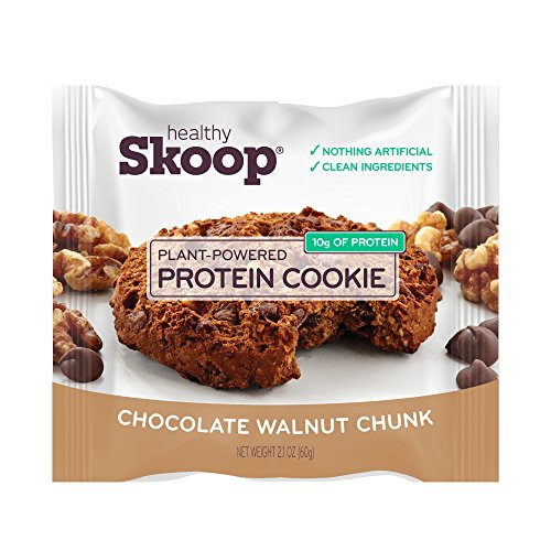 Healthy Skoop Protein Cookie, Chocolate Walnut Chunk, Plant Based, Gluten Free, Soy Free, Whey Free, Dairy Free, 12 pack box, 2.1oz (Chocolate Walnut Chunk, 12 Individually Wrapped Cookies)