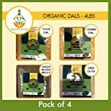 Shastha Organic Dal (Combo Pack of 4) Chana, Toor Dal, Green Moong Whole & Urid Gota Dals -USDA Organic Certified