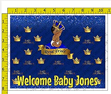 Royal Prince Blue Afro Puff Baby Shower Personalized Birthday Edible Frosting Image 1 4 Sheet