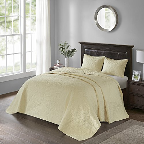 Madison Park Quebec Queen Size Quilt Bedding Set - Yellow, Damask – 3 Piece Bedding Quilt Coverlets – Ultra Soft Microfiber Bed Quilts Quilted Coverlet