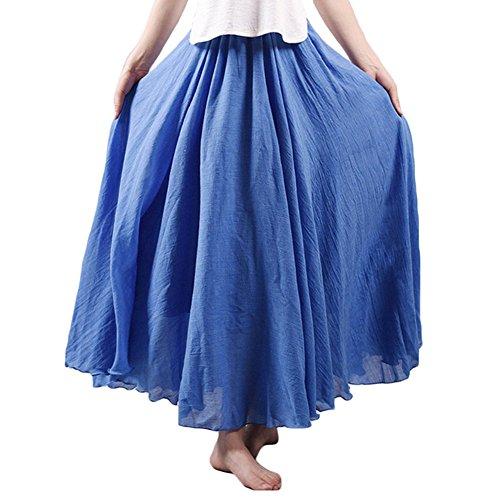 Asher Women's Bohemian Style Elastic Waist Band Cotton Linen Long Maxi Skirt Dress (95CM, Denim Blue)