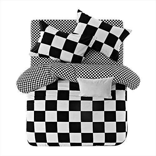 VClife King Bedding Sets Grid Design Duvet Cover Sets, White Black Geometric Checkered Design Reversible, Cotton Bedding Duvet Cover with 2 Pillow Cases, Soft, Comfortable, Lightweight for All Season Checkered Sheet Sets