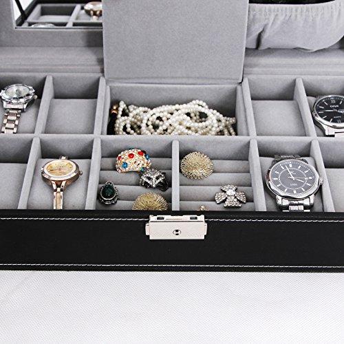 SONGMICS Black Jewelry Box 8 Watch Organizer Storage Case With Lock And  Mirror UJWB41B