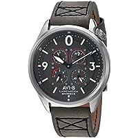 AVI-8 Men's 'Lancaster Bomber' Quartz Stainless Steel and Leather Aviator Watch, Color:Grey (Model: AV-4050-03)