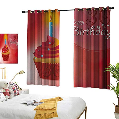 Anshesix Kids Room Curtains 30th Birthday Cute Cupcake with Candlestick Stars Bokeh Backdrop Romantic Design W63 xL72 Red Orange and Blue Suitable for Bedroom Living Room Study,etc.